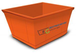 Graphic illustration of an orange skip bin with Best Price Skip Bins logo