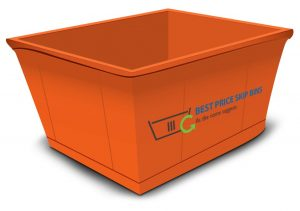Graphic illustration of orange skip bin