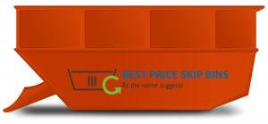 Orange skip bin with Best Price Skip Bin logo